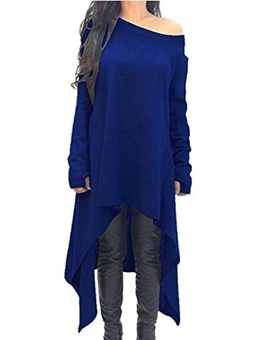 Xuan2Xuan3 Womens Long Sleeve Oversized Top Tunic Shirt Loose Casual Dress,Blue,Medium