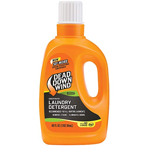 Dead Down Wind Laundry Detergent   40oz Bottle   Natural Woods   Gentle Odor Eliminator + Stain Remover for Hunting Accessories, Gear and Clothes, Safe for Sensitive Skin