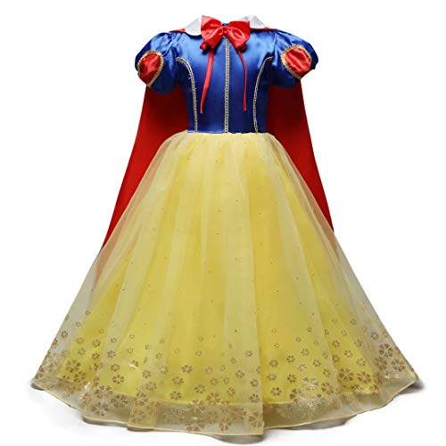 Girls Halloween Classic Princess Snow White Costume Dress Role Cosplay
