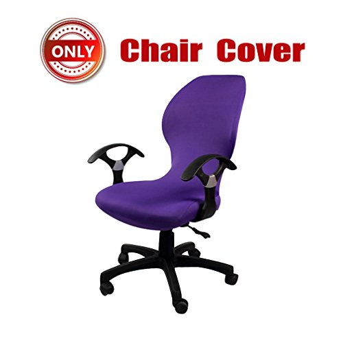 SYROVIA Pure Color Office Computer Dining Rotating Chair Covers One Piece Universal Lift Chair Slipcovers Pads Covers(Purple) by SYROVIA