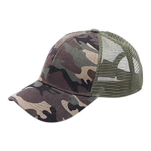 XILALU Ponytail Messy Buns Trucker Plain Mesh Baseball Visor Cap Dad Hat Camouflage