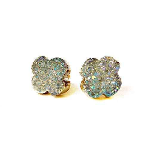 14k Gold Plated Handmade Raw Gray Agate Druzy Geode Stud Earrings