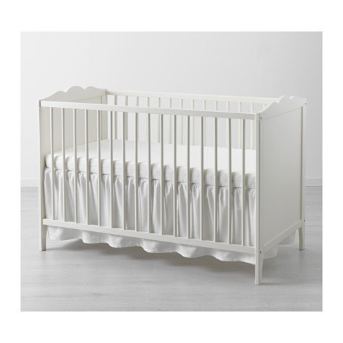 Ikea Len Crib Skirt Cotton Fabric Blend White 140 X 70