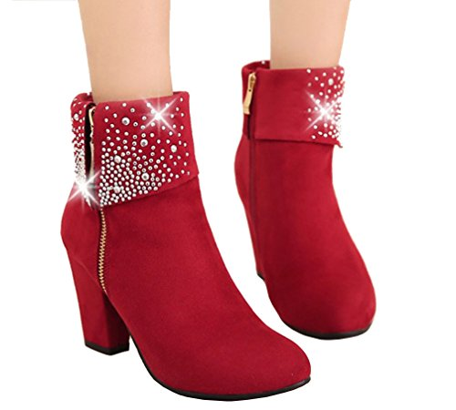 Block Heel Red Ladies Boots 2 Zip Ankle Rhinestone Charmingly Boots 10 Size Dress HiTime S6wFpYqY