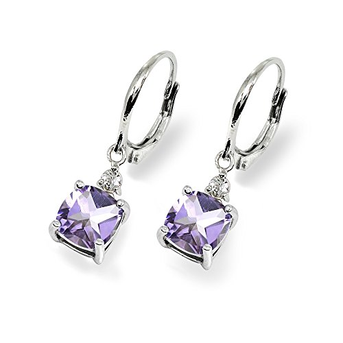 Sterling Silver Amethyst & White Topaz 7mm Cushion-cut Dangle Leverback Earrings by GemStar USA (Image #2)