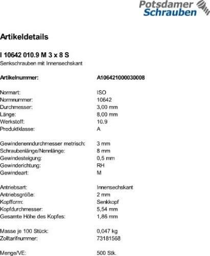 500 Inbus Senkkopfschrauben ISO 10642 10.9 schwarz M3x8