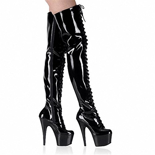 Winter Long Ladies EUR44UK10 Boot Sexy Boots Over Nightclub Knee Elasticity Waterproof Patent Stage Heel Fall up Women's High leather Lace Thigh Black NVXIE Delight 0wqFR58