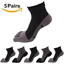 Toe Socks 5 Pairs Five Finger Socks No Show Crew Socks Athletic Running Socks for Men