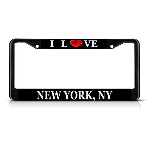 Sign Destination Metal License Plate Frame Solid Insert I Love Heart New York, Ny Car Auto Tag Holder - Black 2 Holes, One Frame