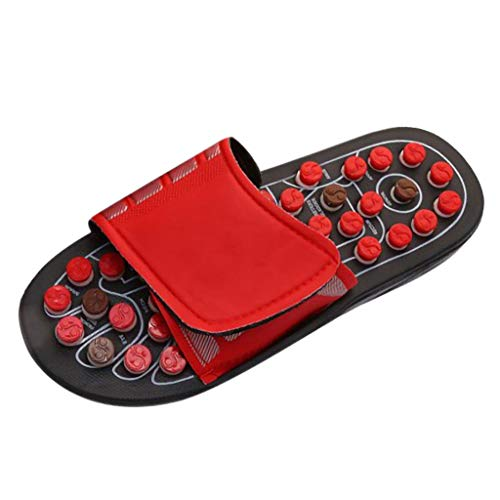 Foot Massager Slippers Reflexology Sandals Arch Pain Massage Adult Shoes Acupressure Health Shoe Gifts for Parents (US:11.5, Red)
