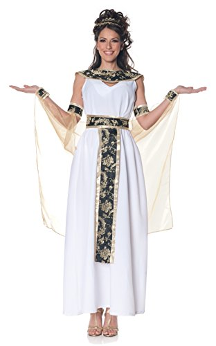 [Underwraps Women's Queen of Egypt, White/Black/Gold, Large] (Nefertiti Halloween Costumes)