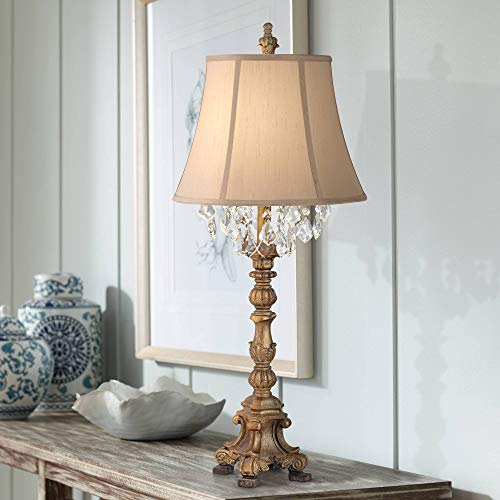 Duval Cottage Table Lamp Crystal Gold Candlestick Beige Bell Shade for Living Room Family Bedroom Bedside Nightstand - Barnes and Ivy