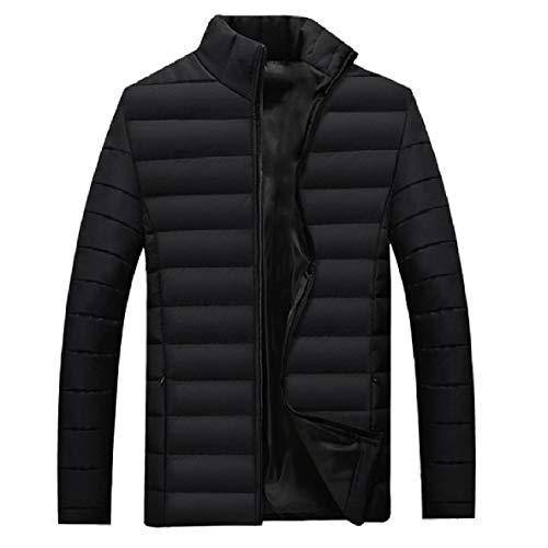 XINHEO Men Oversize Solid Thickening Cotton Stand Collar Parka Jacket Black