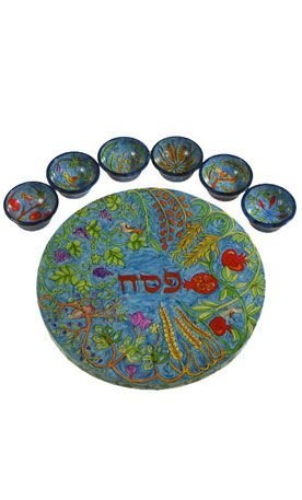 Emanuel Carved Wood Seder Plate -