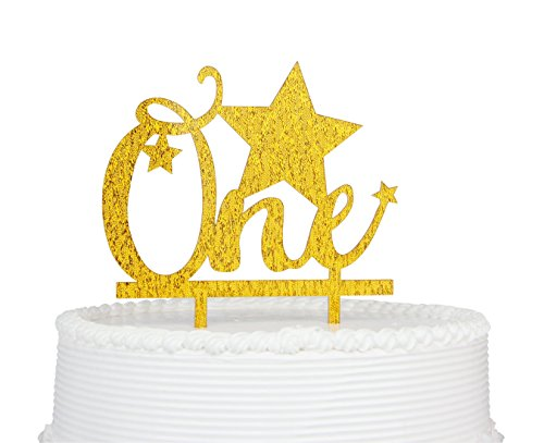 Star Birthday Cake (1st Birthday Cake Topper, ONE Star Birthday Premium Quality Acrylic Cake Topper for First Birthday Party Decoration with Cardboard Packaging)