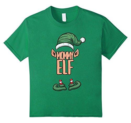 Kids Santa Claus Cute Mommy Elf Christmas Costume Gift T-Shirt 8 Kelly Green