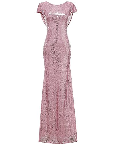 DressyMe Women's Slim Bridesmaid Dress Prom Gown Column Sequin Sleeves-26W-Rose Pink ()