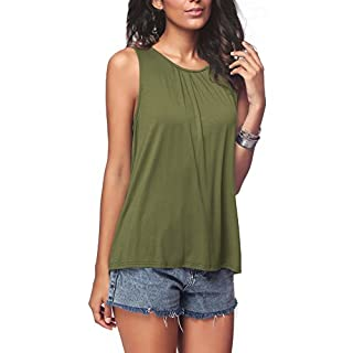 iGENJUN Women's Summer Sleeveless Pleated Back Closure Casual Tank Tops,Army Green,M