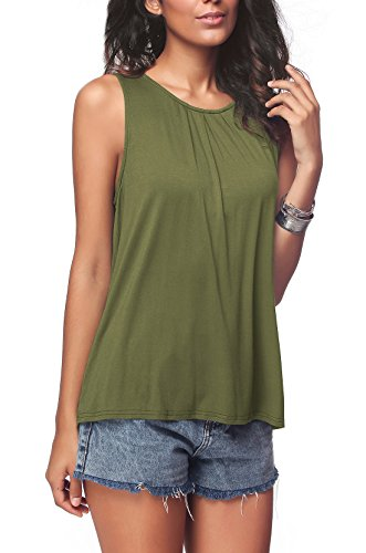 iGENJUN Women's Summer Sleeveless Pleated Back Closure Casual Tank Tops,Army Green,L -