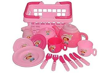 Set Picknick Korb Rosa Kunststoff Puppengeschirr Geschirr Spiel Küche  Zubehör Deko Pink