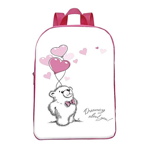 (Bear Durable Backpack,Sweet Little Teddy Bear Keeping Pink Heart Shaped Balloons Romantic Quote Decorative for School Travel,8.6