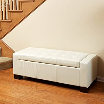 Exceptional Rothwell Ivory Leather Storage Ottoman
