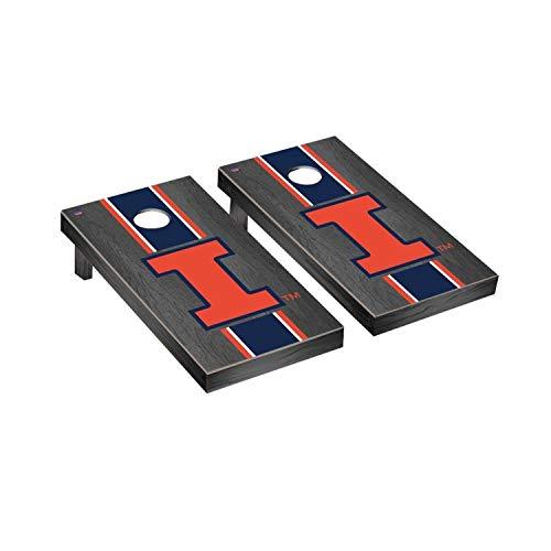 Victory Tailgate Regulation Collegiate NCAA Onyx Stained Stripe Series Cornhole Board Set - 2 Boards, 8 Bags - Illinois Fighting Illini ()