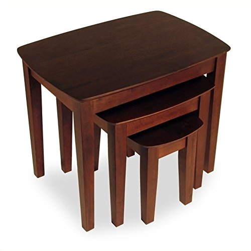 Pemberly Row Solid Wood 3 Piece Nesting/End Tables in Walnut by Pemberly Row