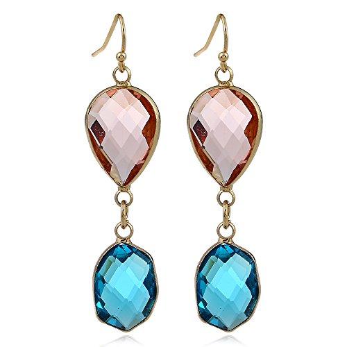 Womens Crystal Long Drop Earrings Hoop Pink Blue ()