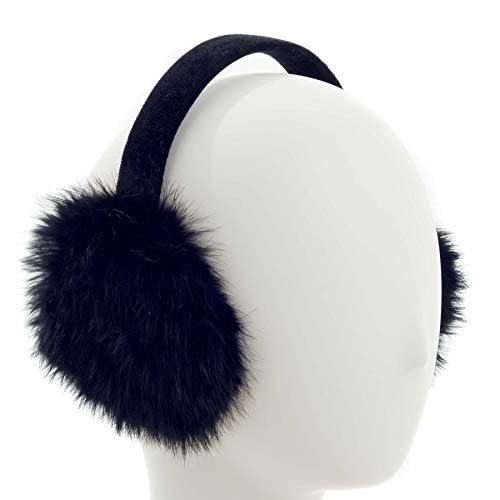 (Surell Long Hair Rabbit Fur Earmuff with Velvet Band, Winter Fashion Ear Warmers, Perfect Elegant Women's Cold Weather Luxury Gift (Black))
