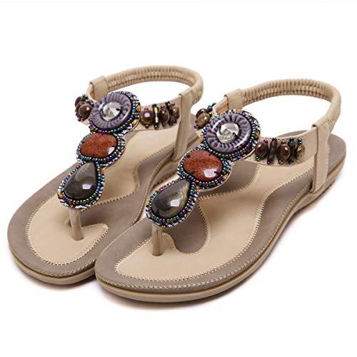 iCKER Womens Thong Flat Sandals Beach Rhinestone Shiny Beads Rhinestone for Summer Holiday-Beaded Apricot-9.5 ()