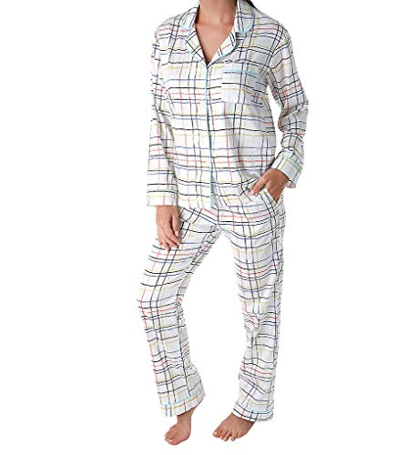 BedHead Women's Long Sleeve Classic Notch Collar Pajama Set Modern Plaid Large