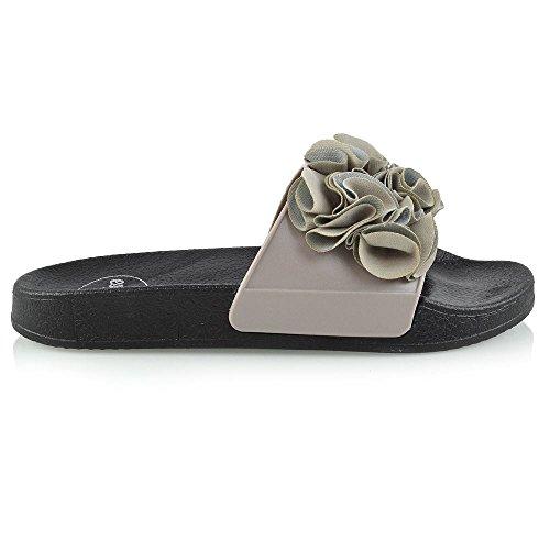 Glisser Caoutchouc Curseur Dames De Vacances Plat Essex Les Chaussures Glam Mules Sur Sport Gris Des Femmes De Confortables Sandales Ses Frange Evq80w