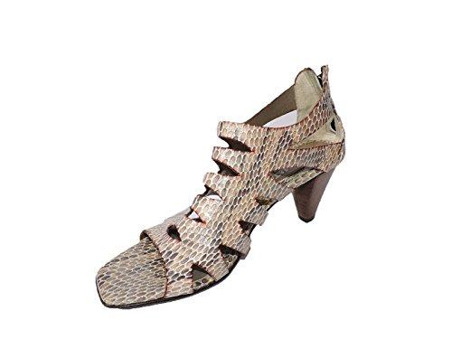 "Aquatalia by Marvin K. Kayya Taupe Brown Lizard Snakeskin 2.5"" Heel Sandals, Open Toe Size 6 M"