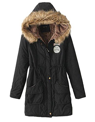 Inverno Caldo Lungo Donna Parka Outwear Nero Cappuccio Con cappotto Giacca ZYw7P