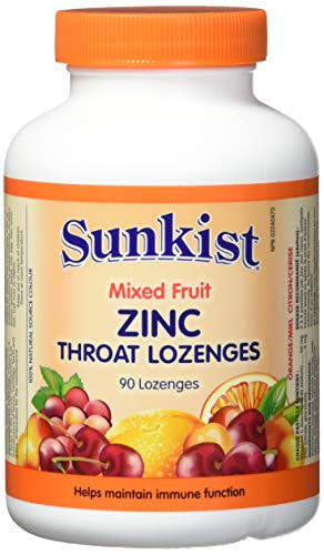 Sunkist Zinc Throat Lozenges with Vitamin C and Echinacea , Mixed Fruit, 90 Lozenges
