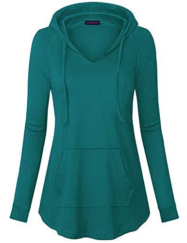 Anmery Womens Lightweight Hoodie Sweatshirt Long Sleeve V Neck Tuinc Tops with Kangaroo Pocket (XX-Large, Dark - Sweatshirt Pullover Hoodie 50