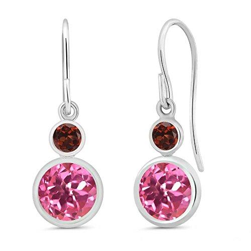 Earrings & Pink Topaz Garnet (2.24 Ct Round Pink Mystic Topaz Red Garnet 925 Sterling Silver Earrings)