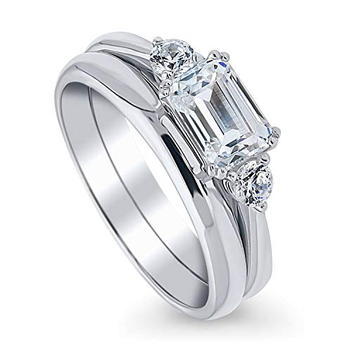 BERRICLE Rhodium Plated Sterling Silver 3-Stone East-West Engagement Wedding Ring Set Made with Swarovski Zirconia Emerald Cut 1.22 CTW Size 7