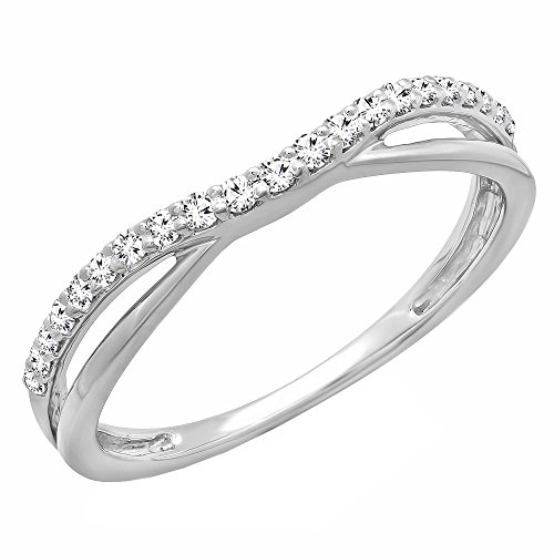 Dazzlingrock Collection 0.25 Carat (ctw) 14K Round Diamond Anniversary Wedding Guard Contour Band 1/4 CT, White Gold, Size 6.5 (Round Diamond Band Wedding)
