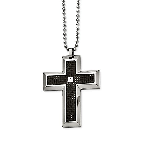 - ICE CARATS Stainless Steel Black Carbon Fiber Inlay .01ct. Diamond Accent Cross Religious Chain Necklace Man Pendant Charm Crucifix Fashion Jewelry Gift for Dad Mens for Him