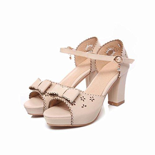 Charm Fot Womens Fashion Öppen Tå Bågar Ankelbandet Hög Klack Heeled Sandaler Beige
