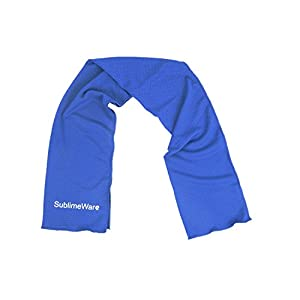 SublimeWare® Cool Towels - (2 Pack) Blue - Athletic Cool Cold Chill Wet Ice Microfiber Towel for Baseball Workout Sports Runner Yoga Gym Exercise Hot Flash Neck Baby Headband Sweatband By (30x100cm)