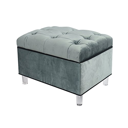 New Pacific Direct 1600012-185 Pandora Velvet Tufted Storage Ottoman with Acrylic Legs, Emerald Green