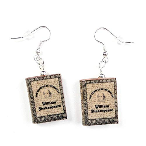 SHAKESPEARE The Complete Works Clay Mini Book HYPOALLERGENIC Earrings by Book Beads LIMITED Edition