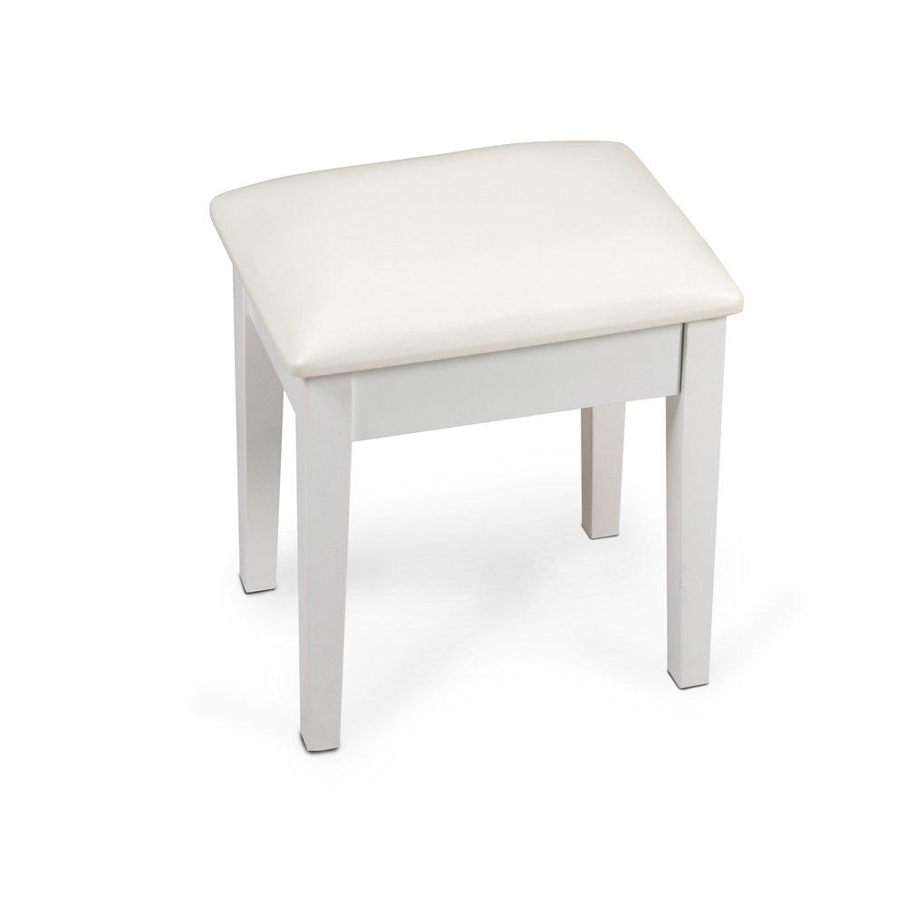 Organizedlife White Wooden Stool for Dressing Vanity Table