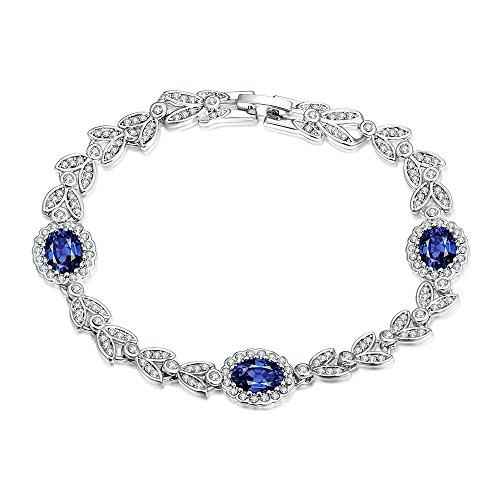 iCAREu Platinum Plated Diamonds and Blue Zircons Bracelet for Women, Girls,8