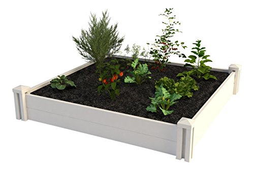 (Vita Gardens VT17108 4X4 Vinyl Raised x 4ft Modular Garden Bed, 11