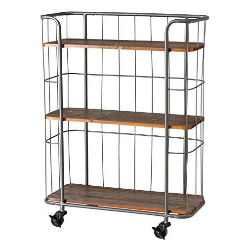 WHW Whole House Worlds Urban Chic Rolling Rack with 3 Shelves, Wheels, Metal and Wood, 2 Ft 6 1/2 Inches (31 1/2 Inches - 80 cm)