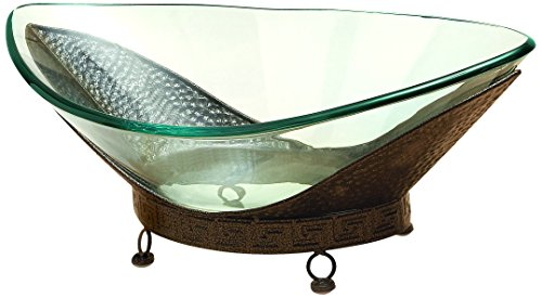 Deco 79 Glass Bowl Metal Stand, 24 by 8-Inch ()